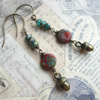 Acorn Dangle Earrings Red and Teal Green