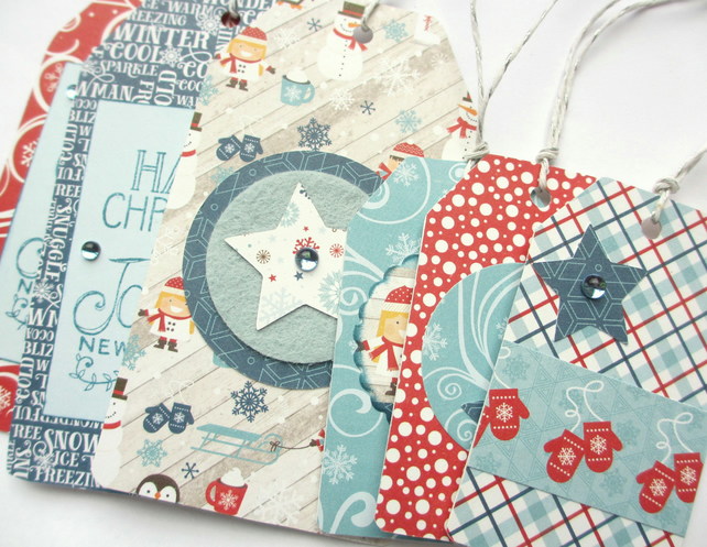 Christmas Tags set of 6 Winter Fun