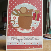 Christmas Card - Mouse on Dark Red Background SALE 2.00