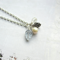 Winter Walk Necklace - Pine Cone and Leaf