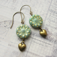 Daisy and Heart Earrings - Soft Green and Gold