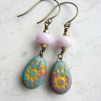 Starburst Drop Earrings Polymer Clay and Glass