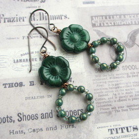 Dark Green Flower and Loop Earrings, Glass and Copper
