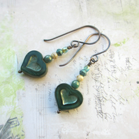 Dark Green Heart Earrings, Czech Glass and Copper
