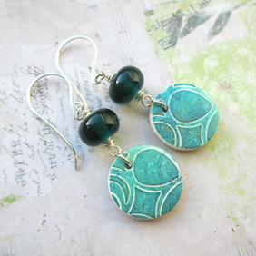 Teal Glass and Polymer ClayCharm Earrings