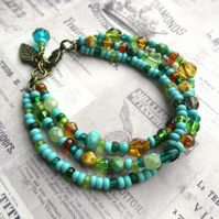 Three Strand Glass Bead Bracelet - Turquoise Mix