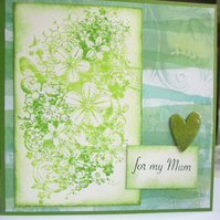 Mother's Day Card, Birthday Card for Mum, Green Flowers