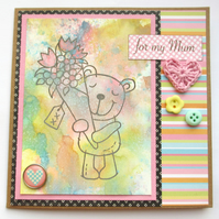 Mother's Day Card Multicoloured Bear