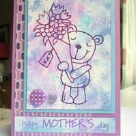 Mother's Day Card Purple Bear