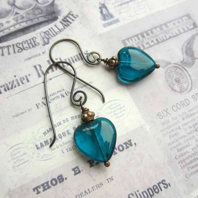 Teal Glass Heart Earrings, Copper