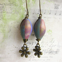 Polymer Clay Multicoloured Pod Bead Earrings
