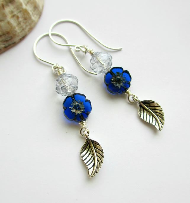Blue Tiny Flower and Leaf Dangle Earrings