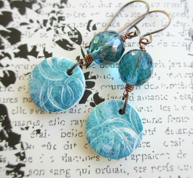 Squiggle Charm Earrings, Polymer Clay and Glass