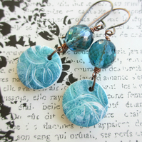 Squiggle Charm Earrings, Polymer Clay and Glass SALE 9.00