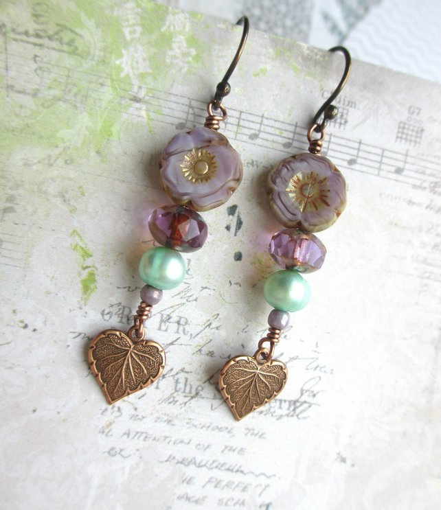 Flower and Leaf Dangle Earrings Purple and Mint