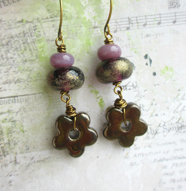 Bronze Ceramic Flower and Purple Glass Earrings