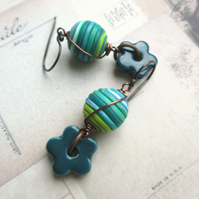 Blue and Green Polymer Clay Bead Earrings with Ceramic Flowers
