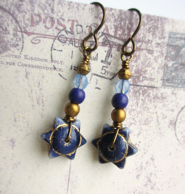 Navy Blue and Gold Star Earrings