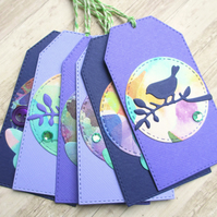 Gift Tags set of 6 Purple Butterfly and Bird
