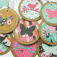 Gift Tags set of 8 Bird and Butterfly Pink and Turquoise