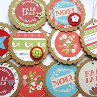 Christmas Gift Tags mixed set of 10 Fa La La