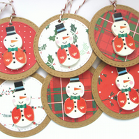 Christmas Gift Tags set of 6 Wooden Snowmen