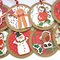Christmas Gift Tags set of 8 Merry Characters