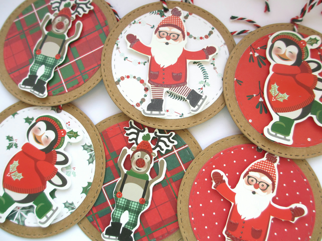 Christmas Gift Tags set of 6 Large Merry Characters