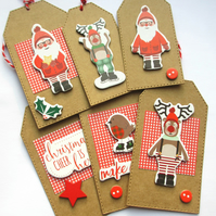 Christmas Gift Tags set of 6 Christmas Cheer, Christmas Characters