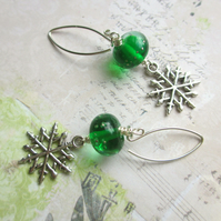 Snowflake Earrings Green Glass