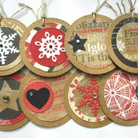 Christmas Gift Tags set of 8 Red, White and Black