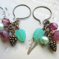 Fuchsia and Mint Green Cluster Earrings with Pine Cone Charm
