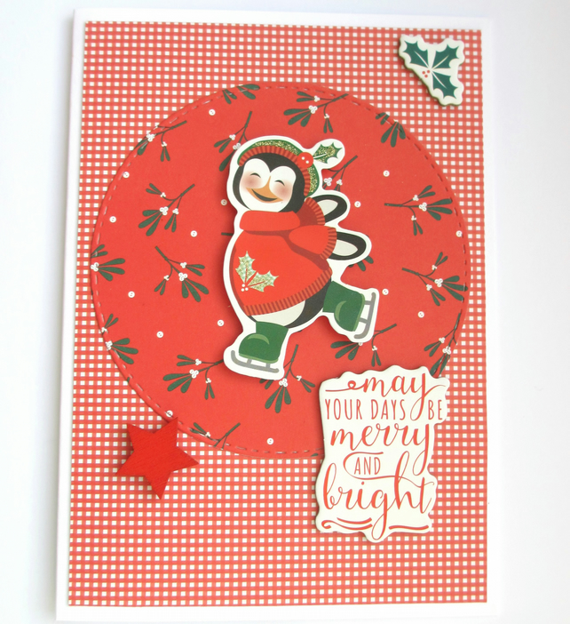 Christmas Card Penguin, Merry and Bright SALE 2.00