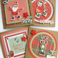 Christmas Cards set of 4 handmade Make a Wish