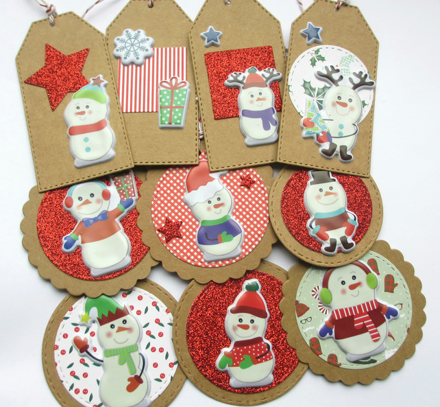 Christmas Gift Tags set of 10 mixed Cheeky Snowmen