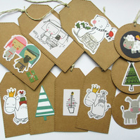 Christmas Gift Tags set of 10 mixed Cute Christmas
