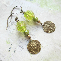 Lime Green and Gold Glass Bead Earrings