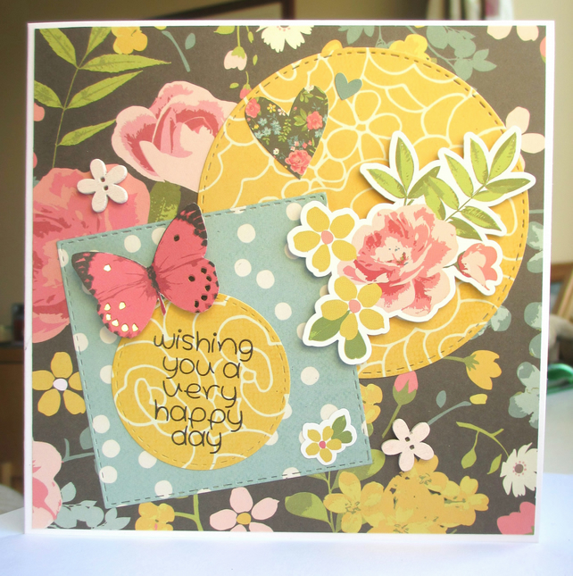 Greetings Card Happy Day, Flowers and Butterfly, Yellow