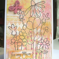 Mother's day Card, Mum's Birthday Card, Flowers Pink and Orange