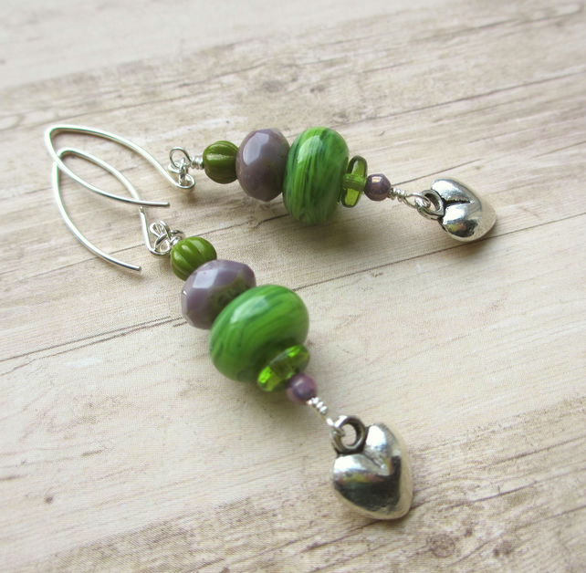 Green and Purple Glass and Heart Earrings