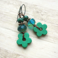 Emerald Green Flower Earrings