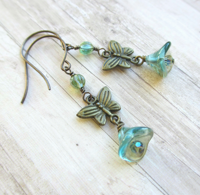 Trumpet Flower and Butterfly Earrings
