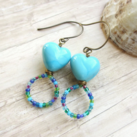 Turquoise Heart and Loop Earrings