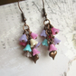 Bell Flower and Heart Earrings, Pink Mix