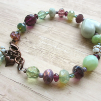 Heart Bracelet, Purple and Pale Green Glass Beads