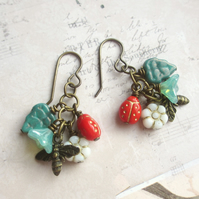 Bee and Ladybird Cluster Earrings, Brass, Czech Glass