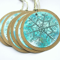 Christmas Gift Tags set of 6 Snowflakes Blue