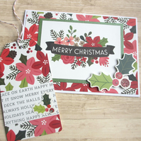 Christmas Card and Gift Tag Set - Festive Flowers