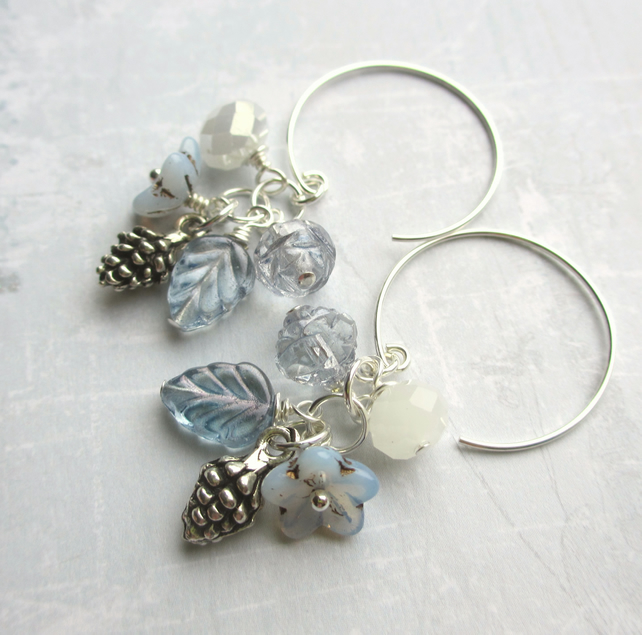 Winter Morning Cluster Earrings Icy Blue