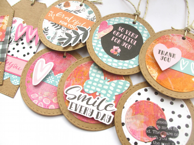 Gift Tags - set of 8 handmade mixed media